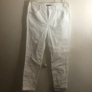 Forever 21 white distressed jeans